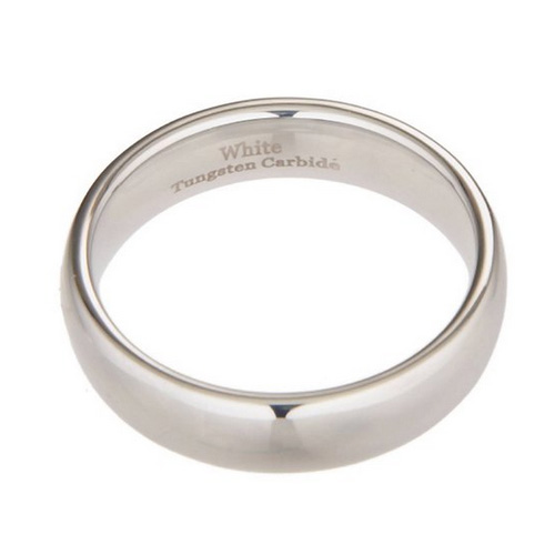 White Tungsten Carbide Polished Classic Wedding Ring Band