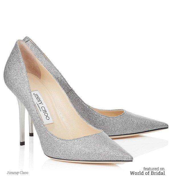 The Abel pointy toe pump is characterized by its clean, simple silhouette. It is leather lined with a leather sole and finished with a techno glitter leather upper.