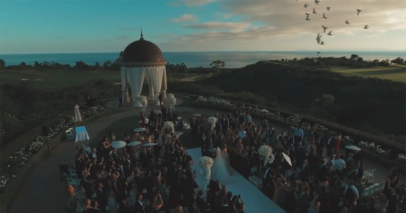 Drone Shot of a Bride Grand Entrance