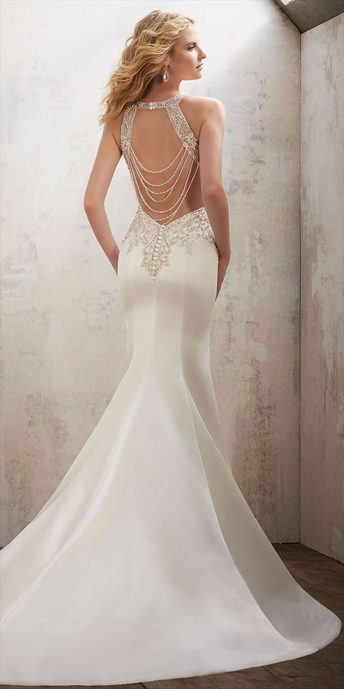 Mori Lee by Madeline Gardner Spring 2017 Elegant Fit & Flare Wedding Gown