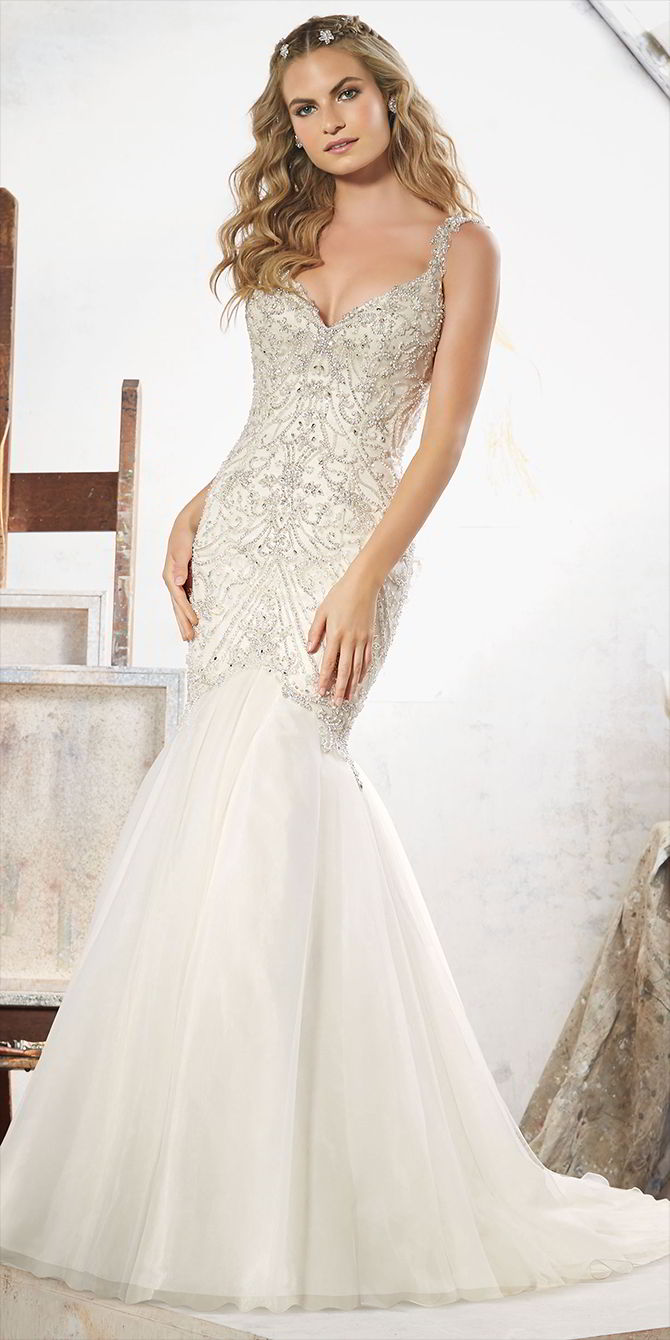 Mori Lee by Madeline Gardner Spring 2017 Glamorous Fit & Flare Wedding Dress
