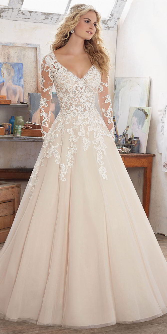 Mori Lee by Madeline Gardner Spring 2017 Long Sleeve Wedding Dress