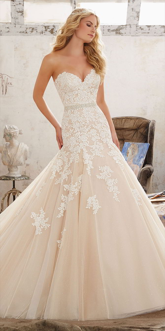 Mori Lee by Madeline Gardner Spring 2017 classic Fit & Flare Bridal Gown