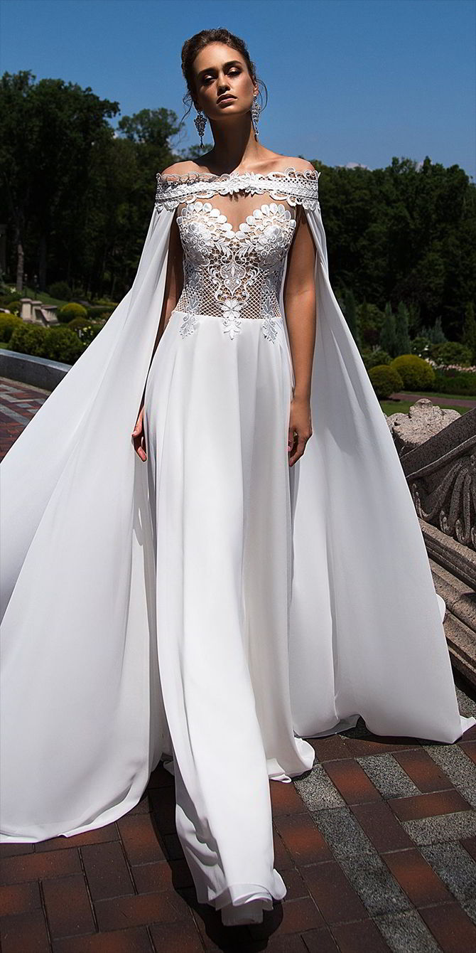 Ida torez fall 2017 wedding dresses world of bridal for Wedding dress with cape train