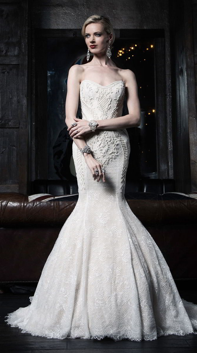 Victor Harper Couture Spring 2017 Chantilly lace fit and flare gown