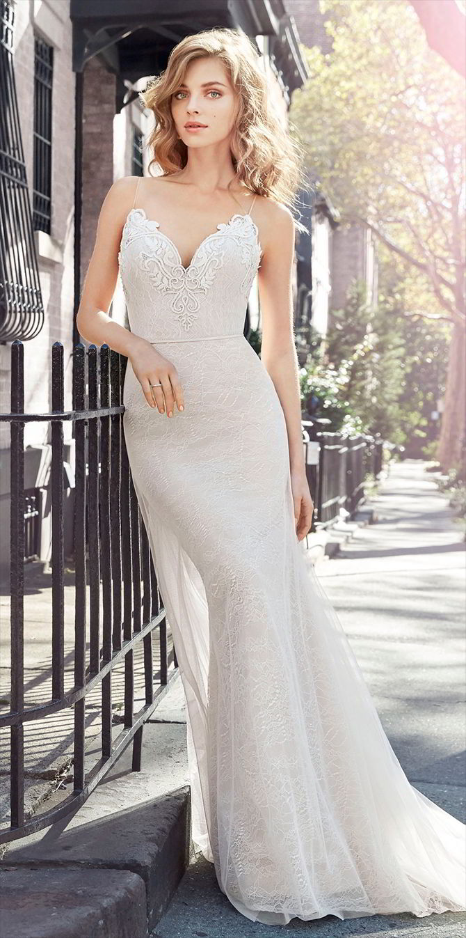 Jim Hjelm Spring 2017 Ivory Chantilly lace over cashmere sheath bridal gown