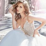 Jim Hjelm Spring 2017 Ivory organza A-line bridal gown