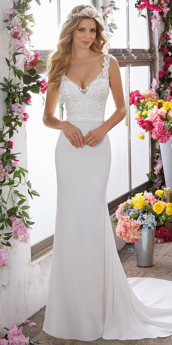 Voyage by Madeline Gardner Spring 2017 Beautiful Crepe Sheath Wedding Dress
