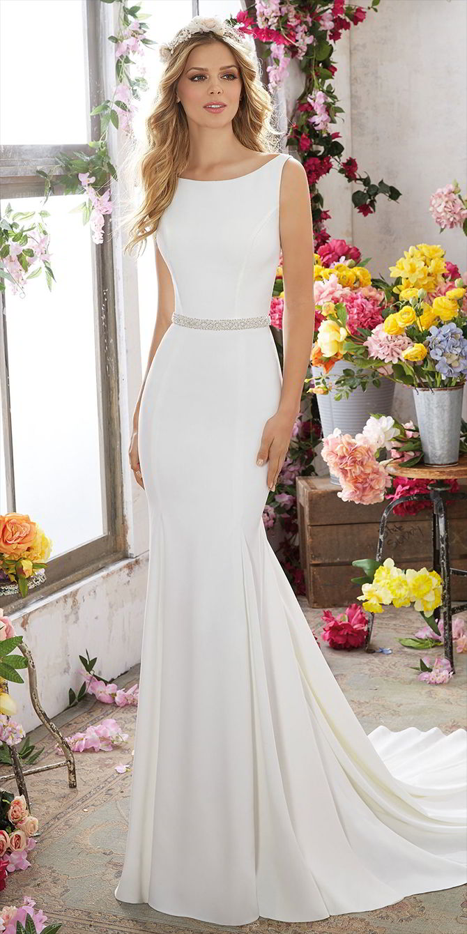 Voyage by Madeline Gardner Spring 2017 Crepe Sheath Wedding Dress