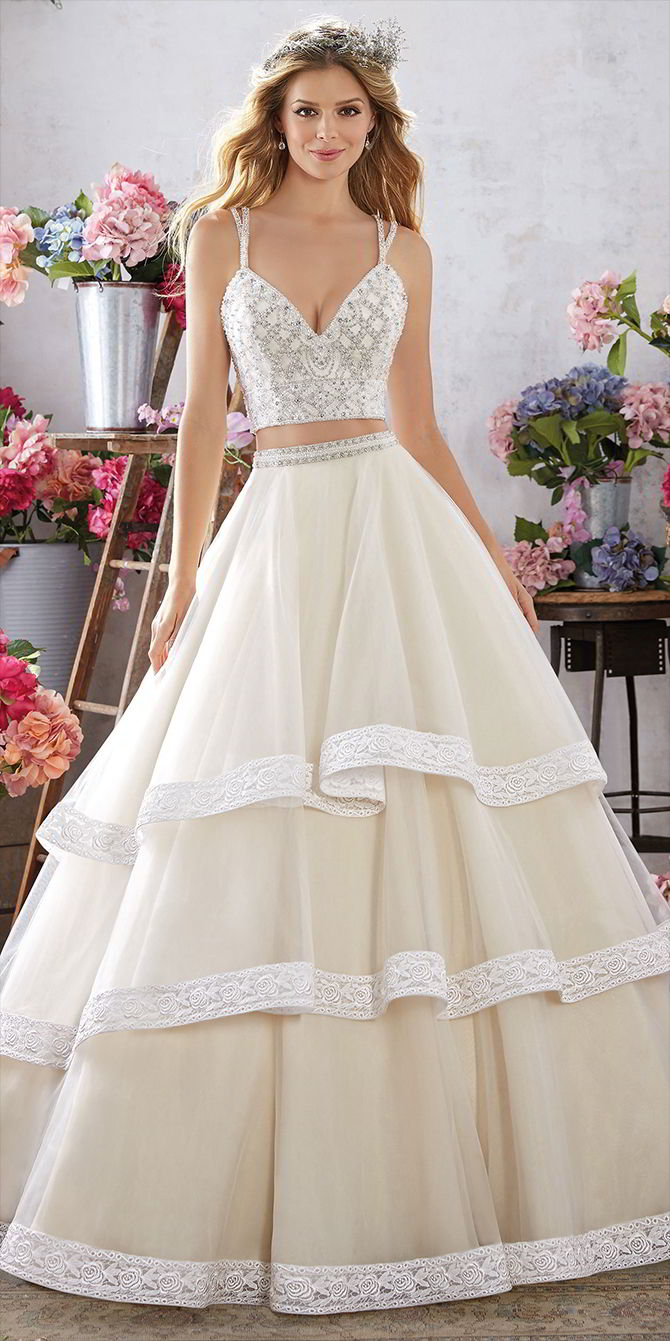 Voyage by Madeline Gardner Spring 2017 Stunning Crepe Sheath Wedding Dress