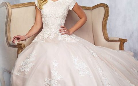 Modest by Mon Cheri Fall 2017 Tulle and Belgium lace full A-line gown