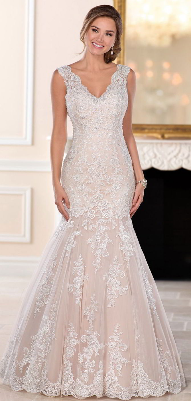 Stella York Fall 2017 Lace Fit and Flare Wedding Gown with Silver Beading