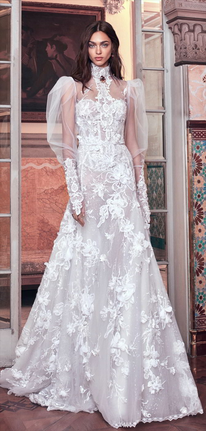 Galia Lahav 2018 3D lace strapless gown