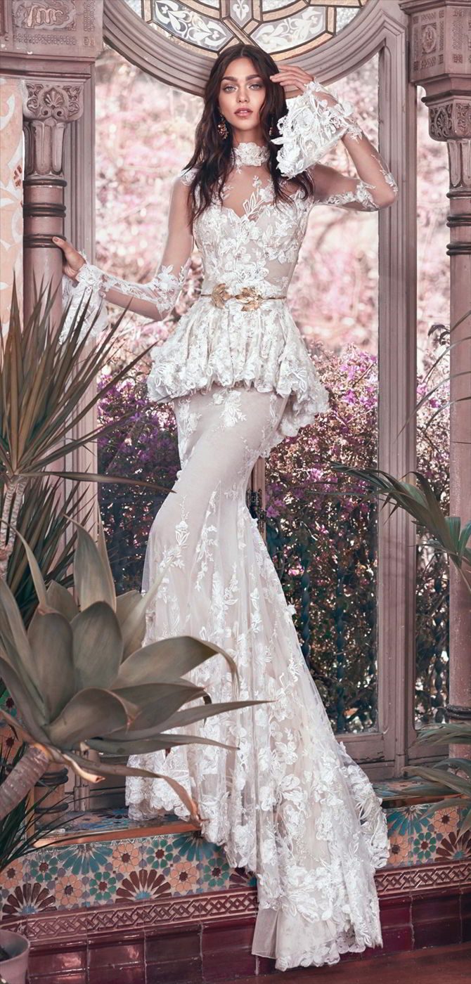 Galia Lahav 2018 Victorian sheer gown with 3D floral embroidery
