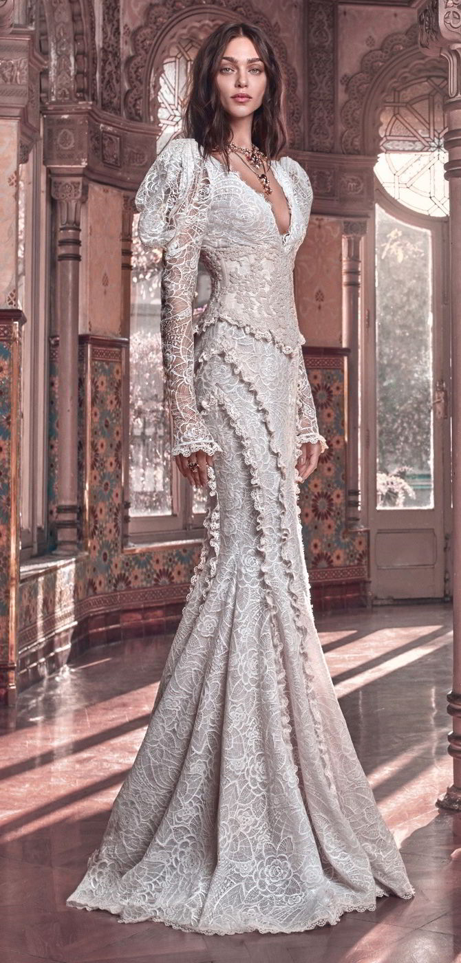 Galia Lahav 2018 sculptural French lace mermaid gown