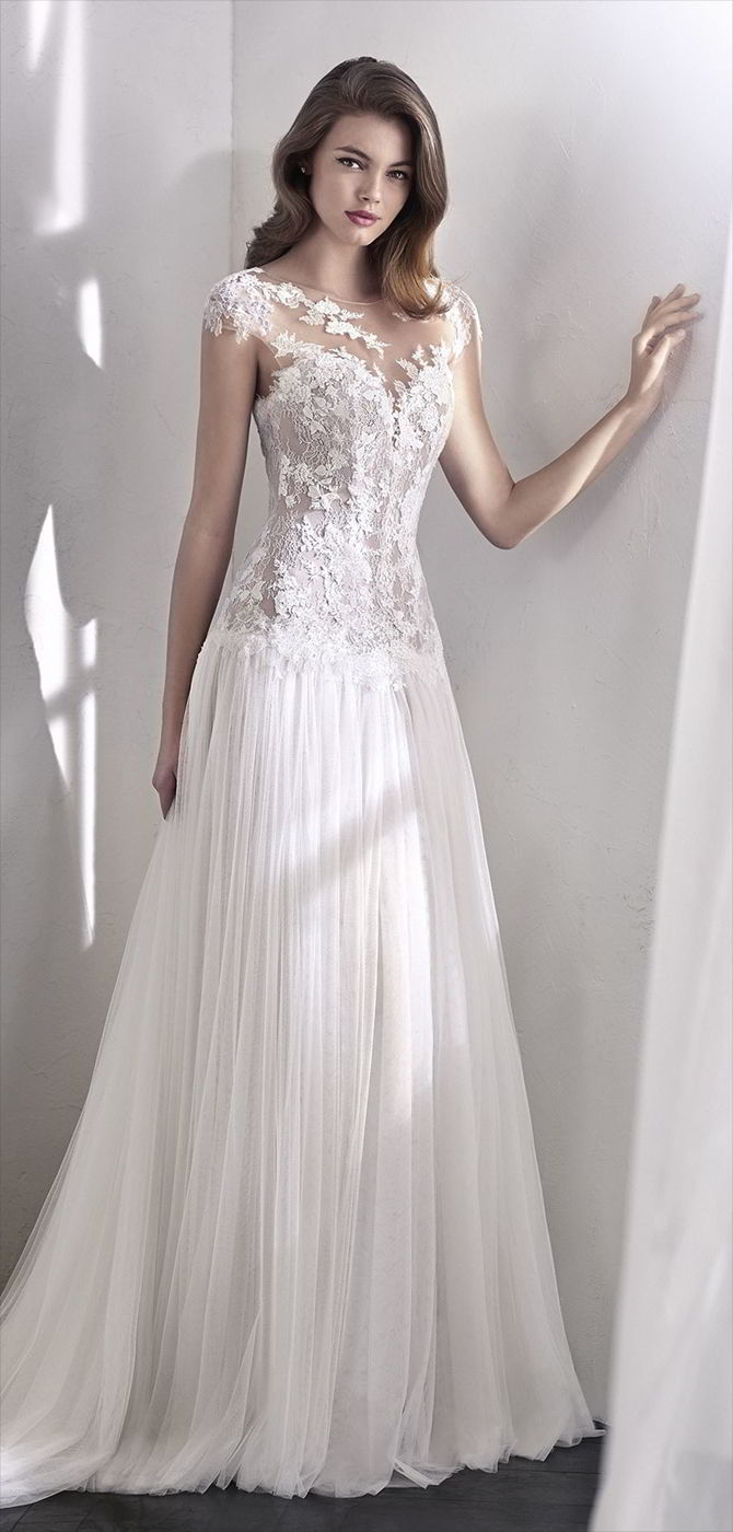 San Patrick 2018 Exquisite flared wedding dress that pairs a dropped-waist