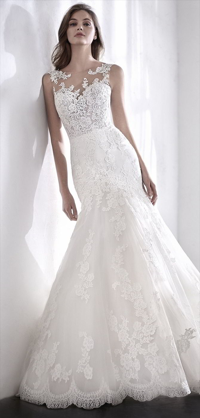 San Patrick 2018 Exquisite mermaid wedding dress in tulle