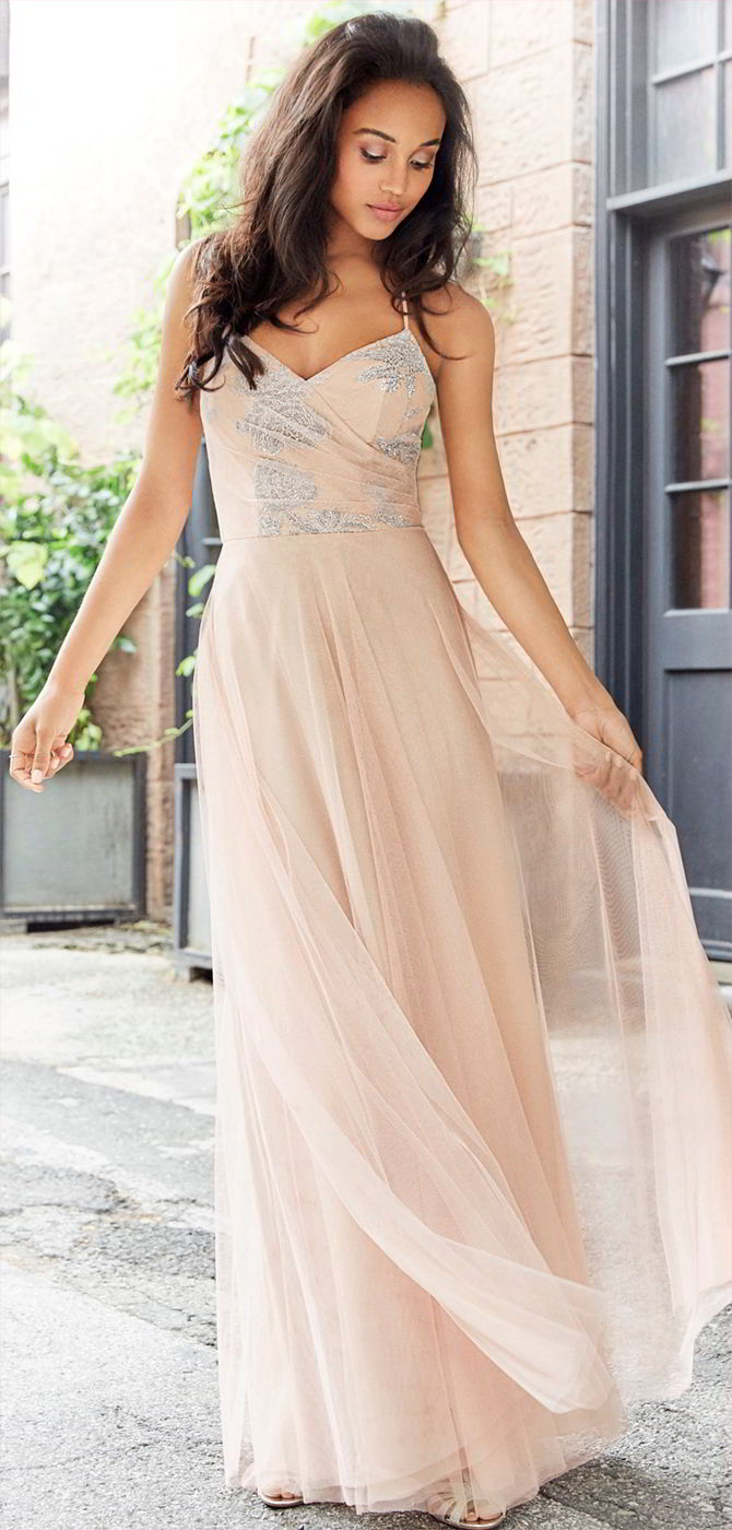 Hayley Paige Occasions Fall 2017 Almond English Net A-line bridesmaid gown