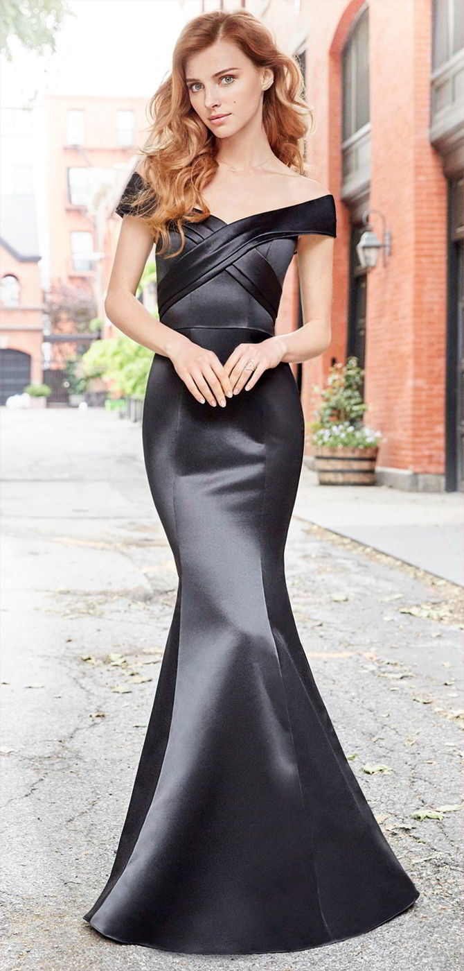 Hayley Paige Occasions Fall 2017 Black Satin trumpet bridesmaid gown