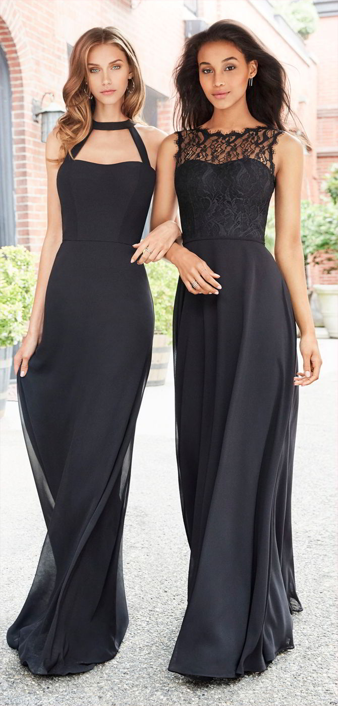 Hayley paige occasions fall 2017 bridesmaids dresses world of bridal hayley paige occasions fall 2017 black chiffon a line bridesmaid gown ombrellifo Gallery