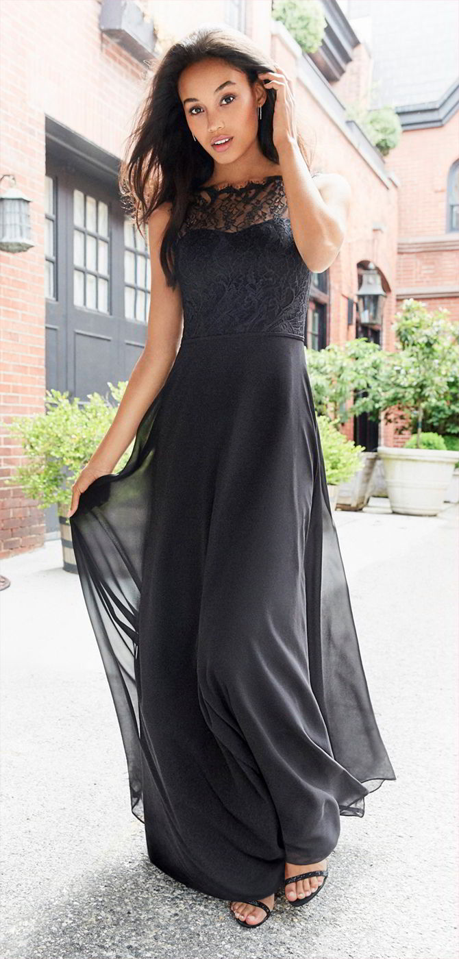 Hayley Paige Occasions Fall 2017 Black chiffon A-line bridesmaid gown