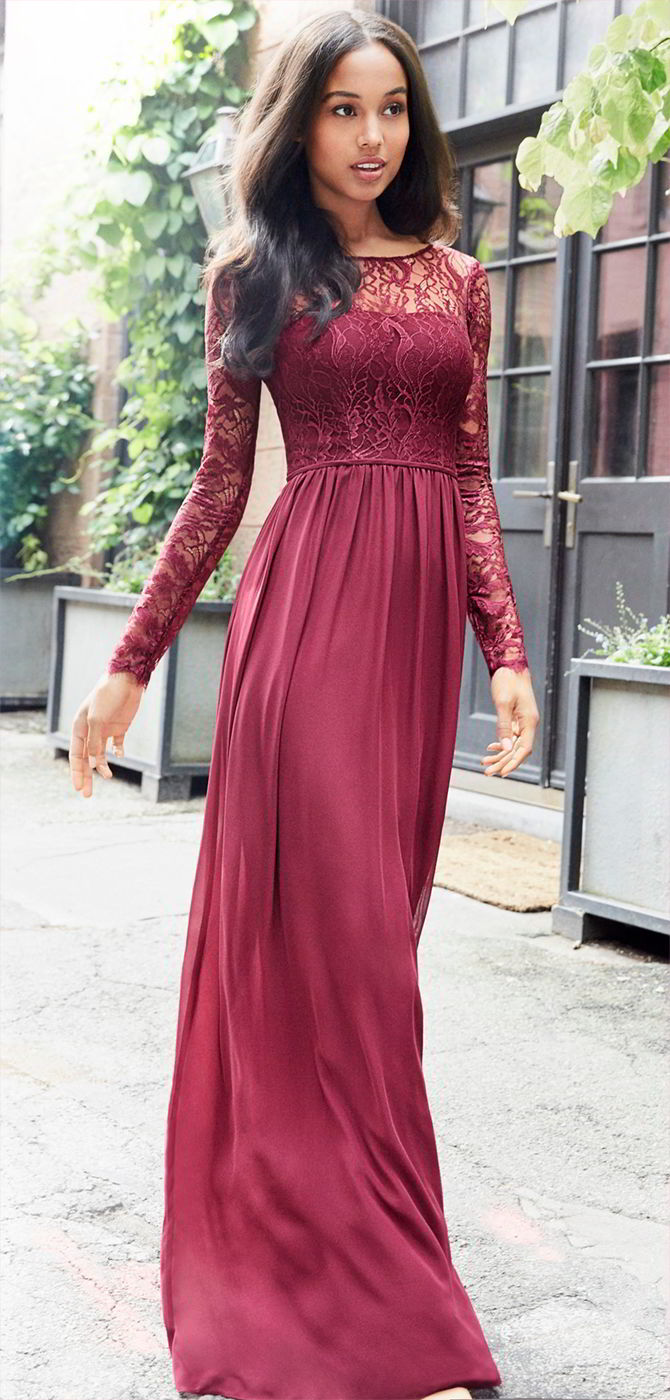 Hayley Paige Occasions Fall 2017 Burgundy chiffon A-line bridesmaid gown