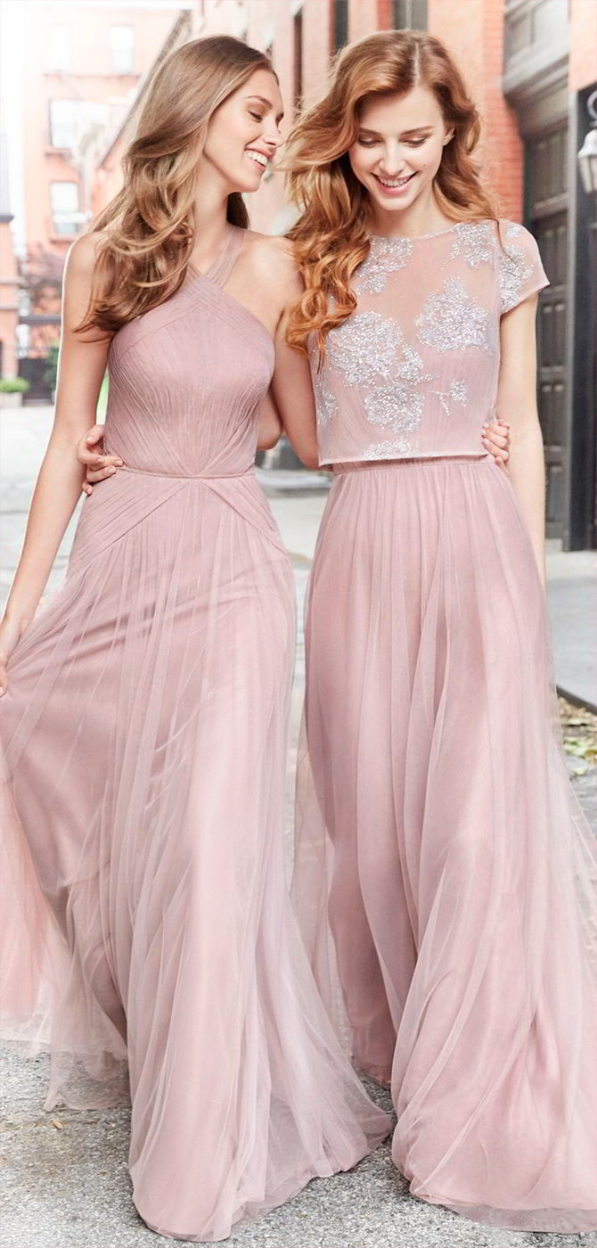 df14305b50e Hayley Paige Occasions Fall 2017 Dusty Rose English net A-line bridesmaid  gown