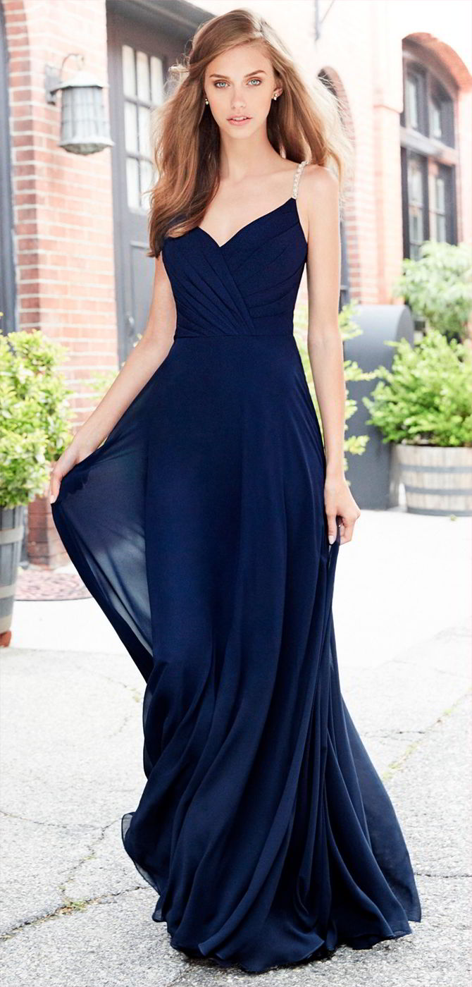 Hayley Paige Occasions Fall 2017 Indigo chiffon A-line bridesmaid gown