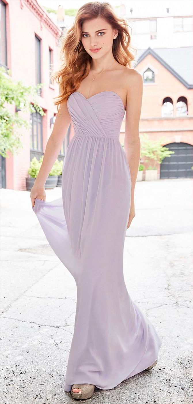 Hayley Paige Occasions Fall 2017 Lilac chiffon strapless A-line bridesmaid gown
