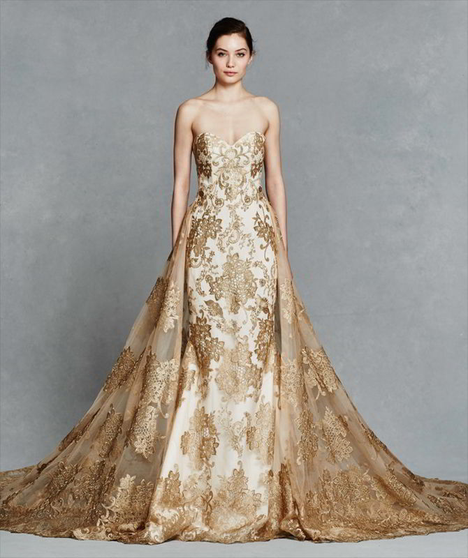 Kelly Faetanini Spring 2017 Gold Embroidery Strapless Fit To Flare Wedding Gown