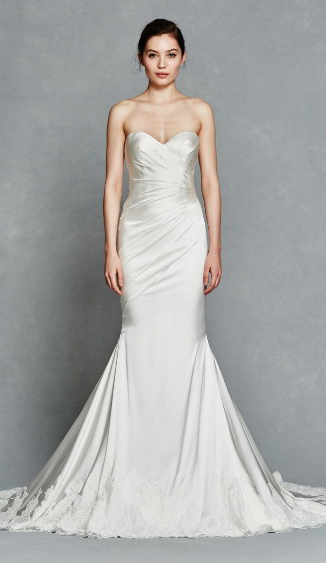 Kelly Faetanini Spring 2017 Silk Stretch Satin Pleated Fit To Flare Strapless Wedding Gown