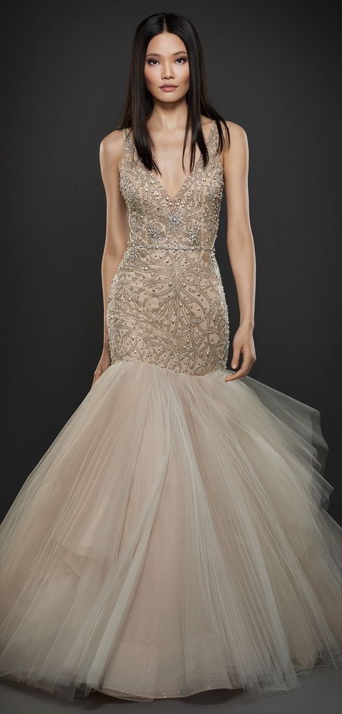 740e8bf4ba6f Lazaro Fall 2017 Champagne tulle fit to flare bridal gown