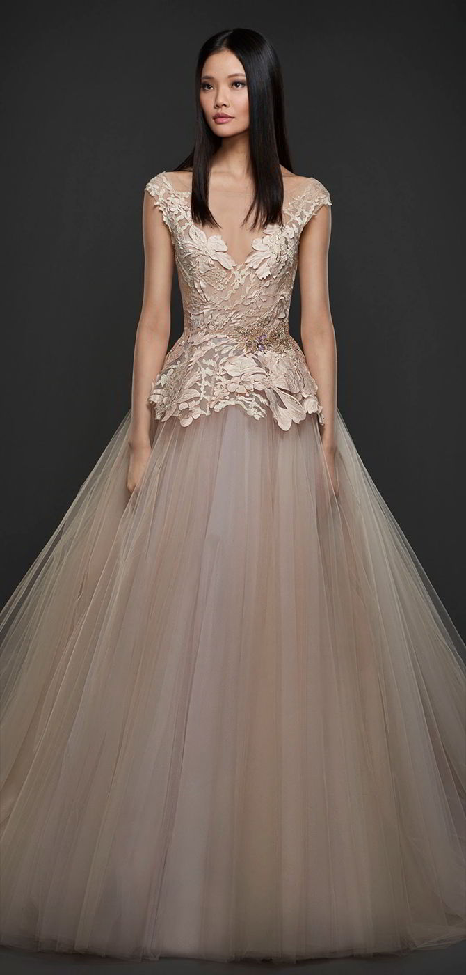 8a21833bf5ac Lazaro Fall 2017 Orchid tulle sculpted bridal ball gown