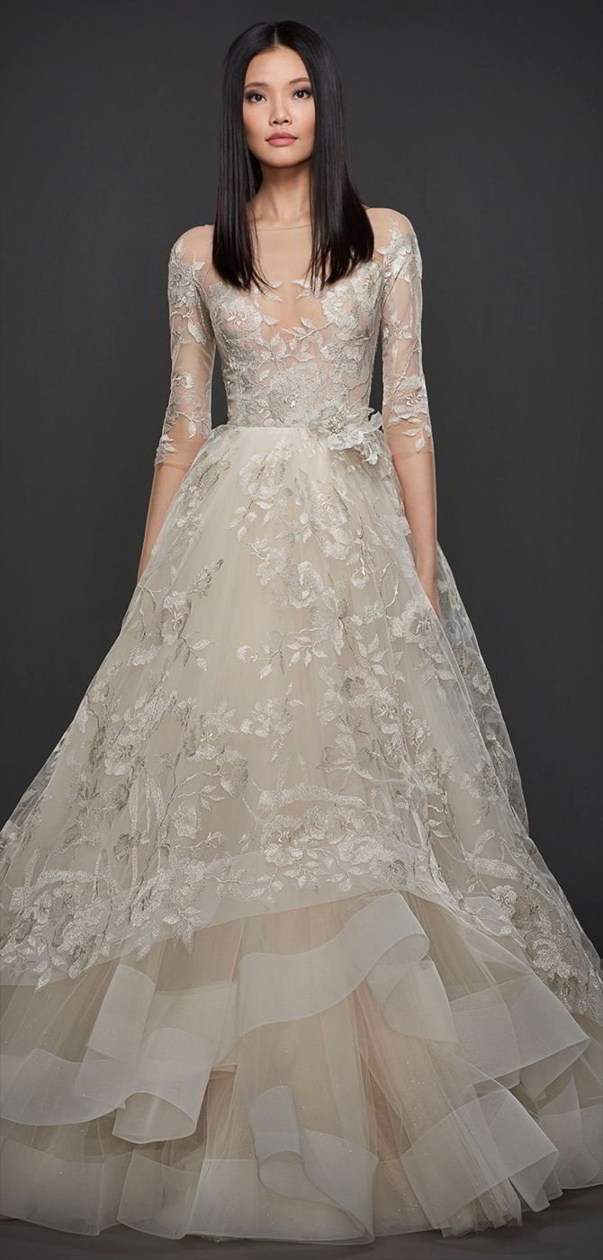 a0eab09bbb58 Lazaro Fall 2017 Platinum candlelight floral embroidered tulle bridal ball  gown