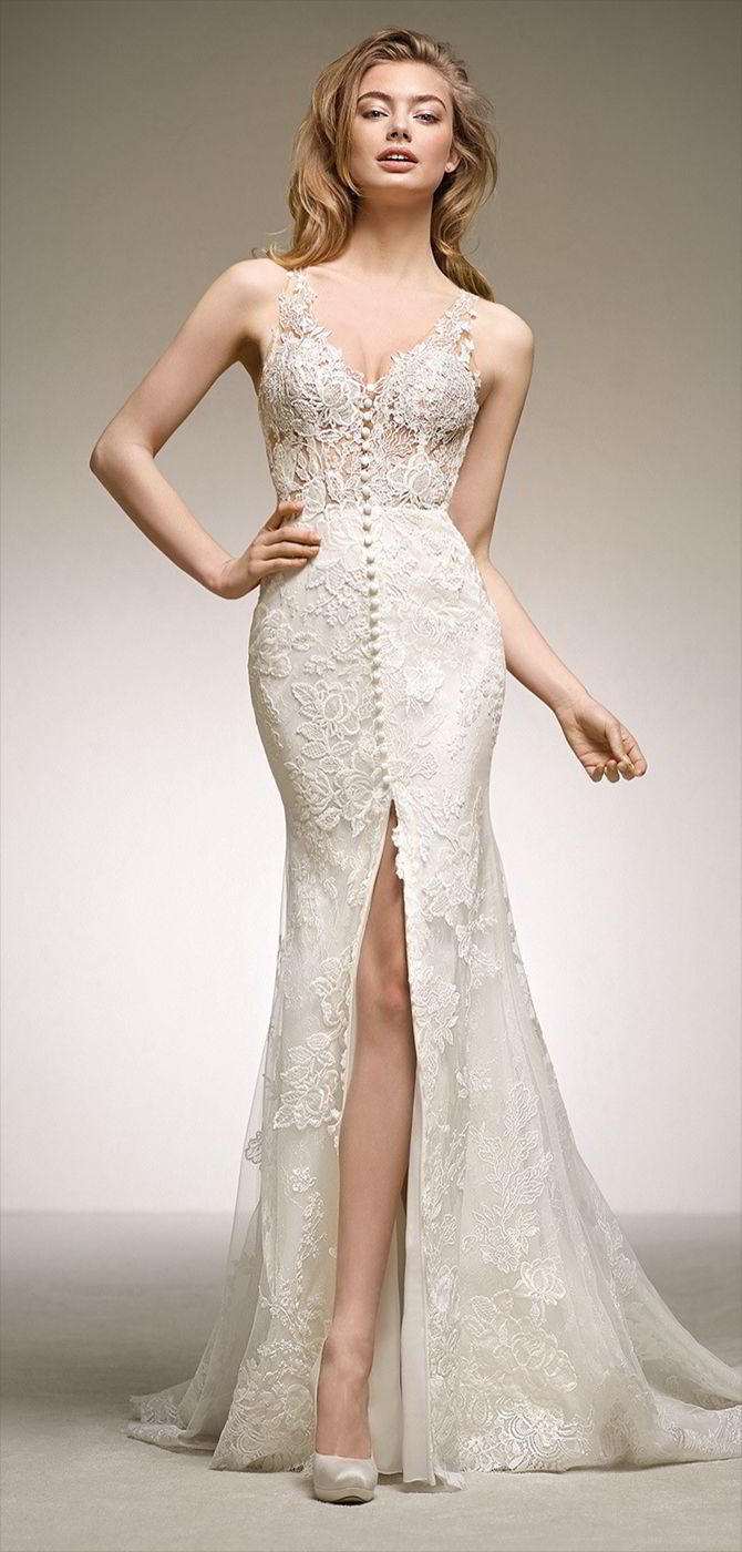 c0bbf780c1e8 Pronovias 2018 spectacular mermaid wedding dress in lace and floral  embroidery