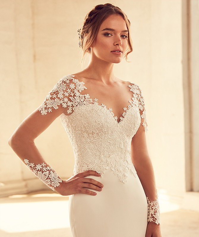 Paloma Blanca Spring 2018 Guipure Lace and Paloma Satin Wedding Dress