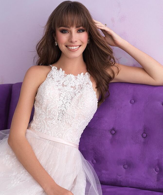 Allure Bridals Spring 2018 Romance lacy A-line bridal gown