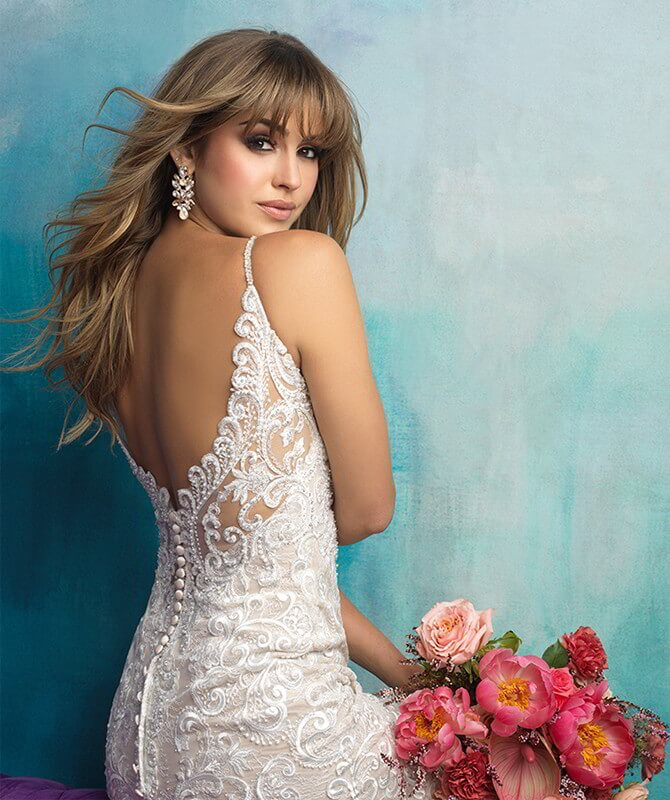 Allure Bridals Spring 2018 sleeveless lace sheath gown