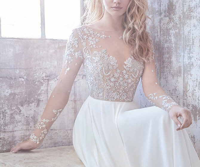 Hayley Paige Spring 2018 Ivory chiffon A-line bridal gown